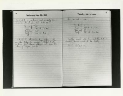 Pages from Lowell Kammerer's Collection Daily Reminder Diaries, Jan. 30-31, 1935