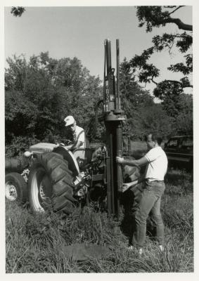Gary Watson (on tractor) and Mike Spravka in Round Meadow gathering soil samples to study roots of white oaks in amended soils, Giddings Rig