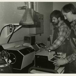 Soil scientists, Pat Kelsey (left) and Rick Hootman, at work in lab