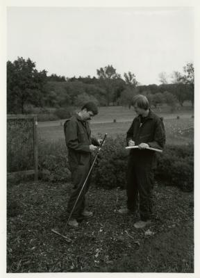 Pat Kelsey (left) and Rick Hootman soil testing in the Japanese Collection