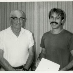David E. Davis, donor of Emily Rodgers Davis Chair, with Chris Whelan