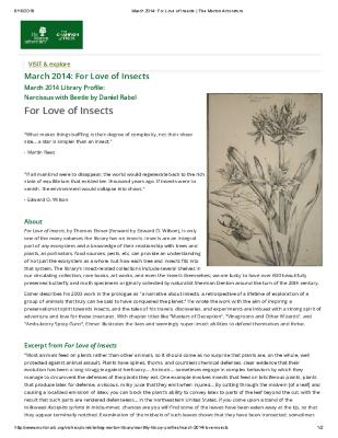 March 2014: For Love of Insects
