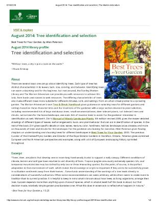 August 2014: Tree identification and selection