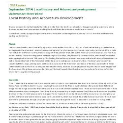 September 2014: Local history and Arboretum development