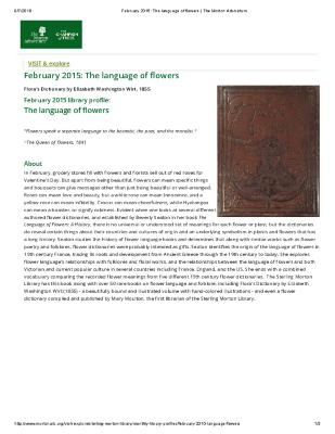 February 2015: The Language of Flowers