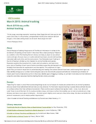 March 2015: Animal Tracking