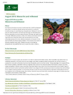 August 2015: Monarchs and Milkweed