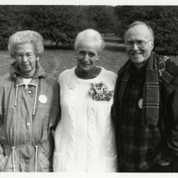 Helen Langrill Retirement Party in tent - Virginia Hall (left), Helen Langrill, Marion Hall in lawn