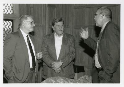 Jim Fuqua Retirement Party in Founders Room - Tim Wolkober (left) and Jim Fuqua conversing