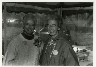 Helen Langrill Retirement Party in tent - Helen Langrill (left) and Virginia Hall