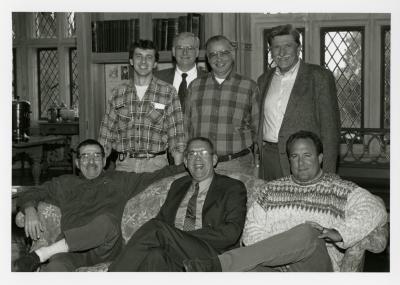Jim Fuqua Retirement Party in Founders Room - 1st row (sitting) L to R:  Mike DeFrank, Jim Fuqua, Mark Roman - 2nd row (standing) L to R: John Olakowski, Tim Wolkober, Dennis Liby, unidentified person