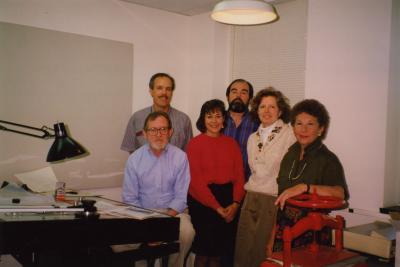 Support group photo in Research Building basement - Joe Larkin (Seated, blue shirt) (Standing L to R): Jim Nachel, Marsha Davis, Tony Byrne, Nancy Stieber, Elaine Fairbanks