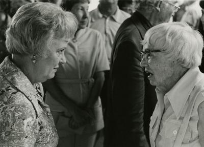 Evelyn Rasch Naser Retirement Party in tea room - Evelyn Naser in conversation