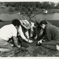 Earth Day - group planting tree near lake (L to R): Nina Hoppe, Charles Lewis, Lynn Kalata, unidentified person, Rita Hassert