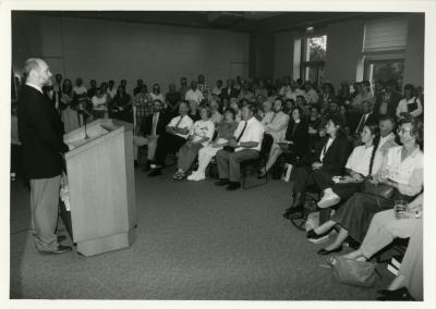 Bill McKnight addressing group at Swink-Wilhelm book signing at Thornhill