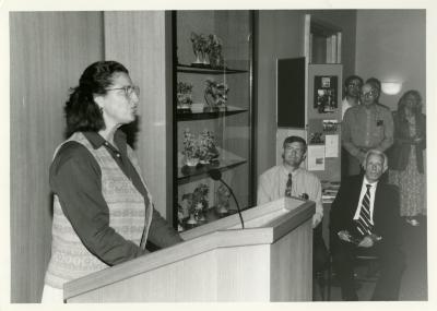 Jane Balaban speaking at Swink-Wilhelm book signing at Thornhill (Floyd Swink and Jerry Wilhelm seated)