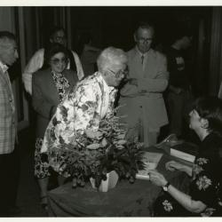 Registration at Swink-Wilhelm book signing at Thornhill - Nancy Hart Stieber seated, George Hickman standing to the right