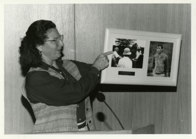 Jane Balaban showing photos at Swink-Wilhelm book signing at Thornhill