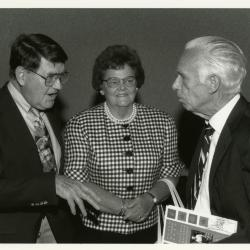 Floyd Swink with unidentified person at Swink-Wilhelm book signing at Thornhill
