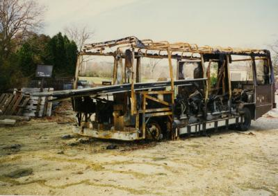 Burned tram/ tour bus at South Farm
