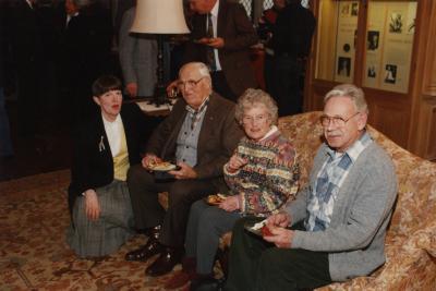 George Ware Retirement Party in Founders Room - group on couch (L to R): Nancy Stieber, Walter Eickhorst, Katie Eickhorst, Warren Portzer