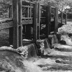Bridge and dam across DuPage River (west branch)