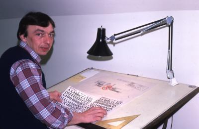 John Sosnowski at drawing desk