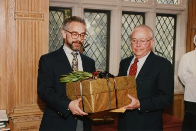 George Ware Retirement Party in Founders Room - Christopher Dunn presenting gift to George Ware