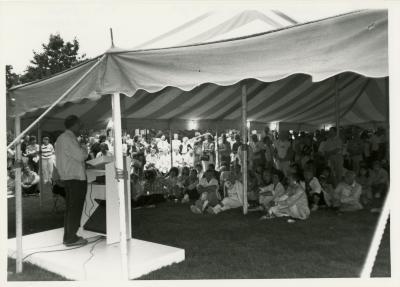 Volunteer Night - Marion Hall addressing volunteers
