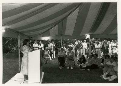 Volunteer Night - Marilyn Halperin addressing volunteers
