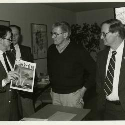 Victory Gardens TV - presenting Bob Thomson, tv host, with prints and membership - (L to R): Joe Larkin, Tony Tyznik, Bob Thomson, Ross Clark