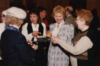 George Ware Retirement Party in Founders Room - group chatting with refreshments (L to R): Marsha Davis, Georgia Rutherford, Vivian Kampf