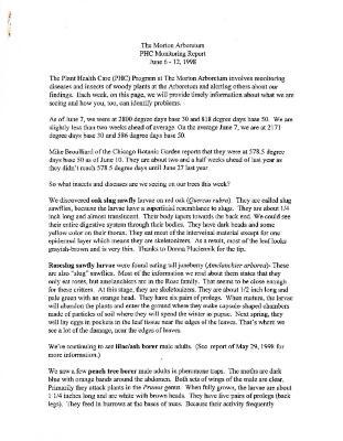 Plant Health Care Report: June 6-June 12, 1998