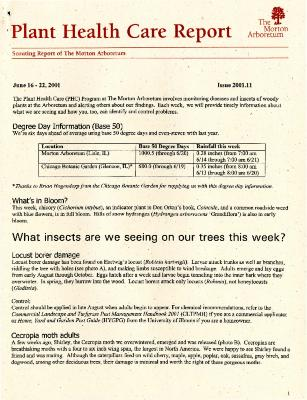 Plant Health Care Report: Issue 2001.11
