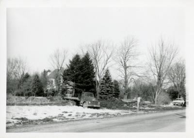 Truck at Arboretum entrance road during recontruction when Route 53 was widened
