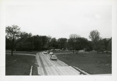 Sunday traffic heading to west side showing west entrance road, near Elm Collection