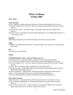 What's in Bloom: May 14, 2003