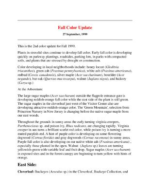 Fall Color Update: September 27, 1999