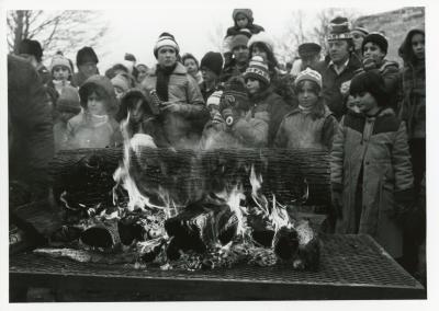 Yule Log Hunt - burning the log in the East Side of the Arboretum