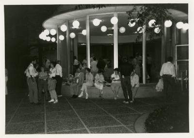 Volunteer Night - crowd scene outside Administration Building