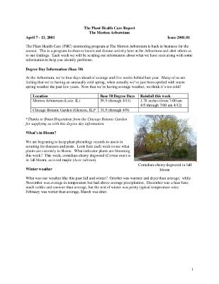 Plant Health Care Report: Issue 2001.01