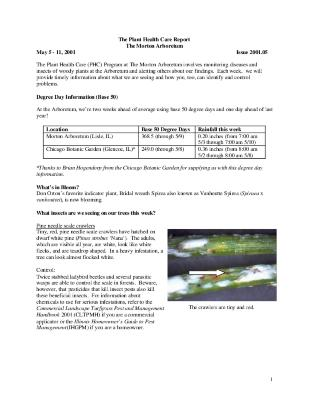 Plant Health Care Report: Issue 2001.05