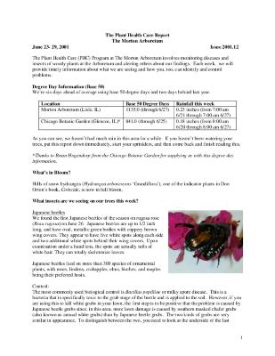 Plant Health Care Report: Issue 2001.12
