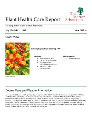 Plant Health Care Report: Issue 2005.14