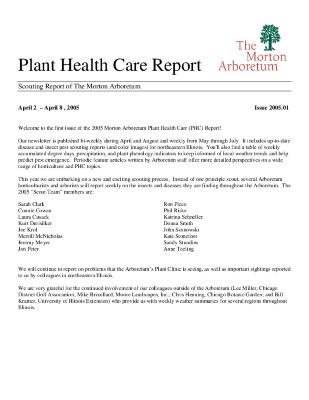Plant Health Care Report: Issue 2005.01