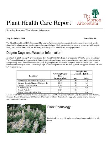Plant Health Care Report: Issue 2004.14