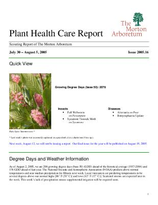Plant Health Care Report: Issue 2005.16