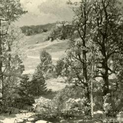 """Photo of a painting of """"The Manor House Beyond"""" painted by Joseph Birren 1932"""