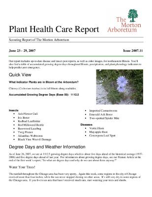 Plant Health Care Report: Issue 2007.11