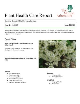 Plant Health Care Report: Issue 2009.09